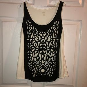 ANA White with black lace sleeveless Top Size L.